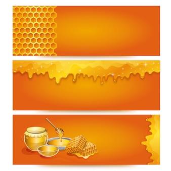 Naturalny miodowy sztandaru tło dla organicznie sklepu