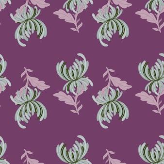 Naturalny ogród wzór z zielonych kwiatów chryzantemy wydruku. fioletowe tło. płaski nadruk wektorowy na tekstylia, tkaniny, opakowania na prezenty, tapety. niekończąca się ilustracja.