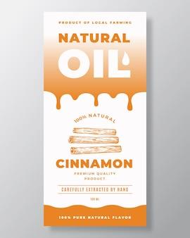 Naturalny olej streszczenie projekt opakowania lub szablon etykiety. nowoczesna typografia, krople gradientu i ręcznie rysowane cynamonowe laski spyce szkic sylwetka