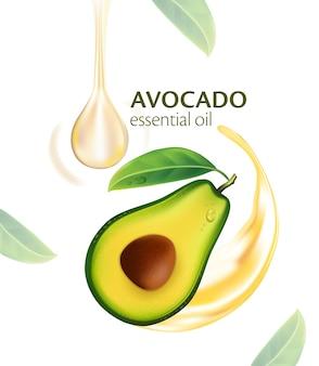Naturalny olejek ze świeżych owoców realistycznego awokado