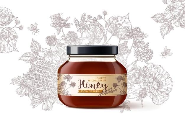 Naturalny organiczny miód z dzikich kwiatów w realistycznym szklanym słoju 3d z ręcznie rysowanymi kwiatami trawionymi na białym tle