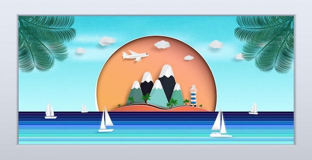 Naturalny pejzaż morski w ramce obrazu. projekt jest latem.