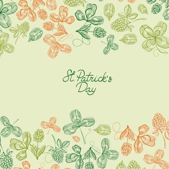 Naturalny plakat z pozdrowieniami saint patricks day z napisem i szkicem koniczyny i ilustracji wektorowych czterolistnej koniczyny