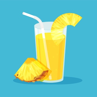Naturalny sok lub koktajl ananasowy w szklance. świeżo wyciskany sok z pokrojonym plasterkiem i słomką. zdrowa żywność ekologiczna. owoc cytrusowy. w modnym stylu mieszkanie na niebieskim tle