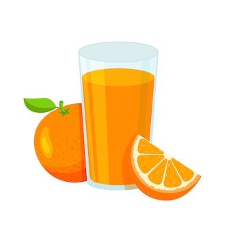 Naturalny sok pomarańczowy w szklance. świeży sok wyciśnięty z pokrojonym plasterkiem. zdrowa żywność ekologiczna. owoc cytrusowy.