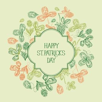 Naturalny szablon st patricks day z napisem w ramce i szkicem koniczyny i czterolistnej koniczyny