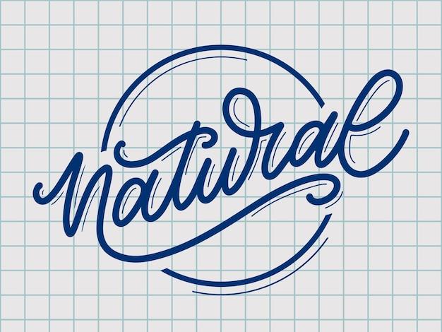 Naturalny wektor napis pieczęć ilustracja hasło kaligrafia
