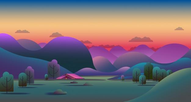 Naturalny wieczorny krajobraz z zielonymi wzgórzami