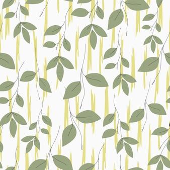 Naturalny wzór zielony liść białe tło rysunek odręczny