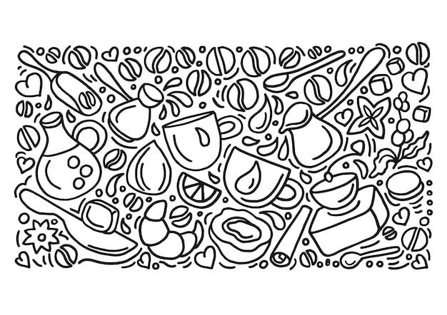 Naturalny zestaw do kawy grupa doodle elementy sztuki linii ręcznie rysunek szkic ziarna fasoli
