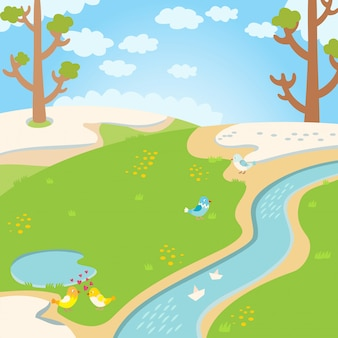 Naturalny zielonej trawy wiosny tło z rzeką, drzewami, ptakami i białymi chmurami wektorowymi.