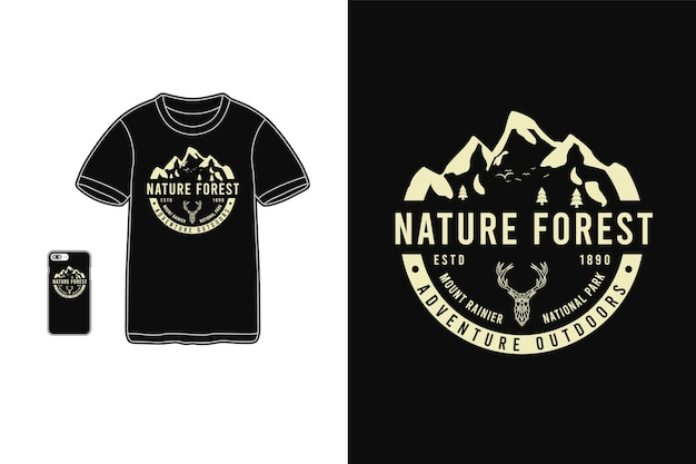 Nature forest, t-shirt sylwetka makieta typografia