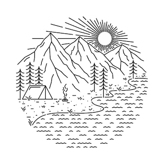Natury campingowa jeziorna halna kreskowa ilustracja