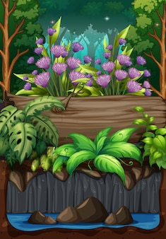 Natury scena z kwiatami w lesie