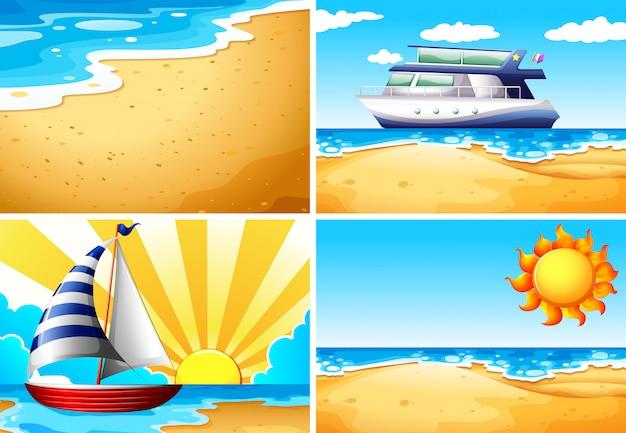 Natury sceny tła z plażą i oceanem
