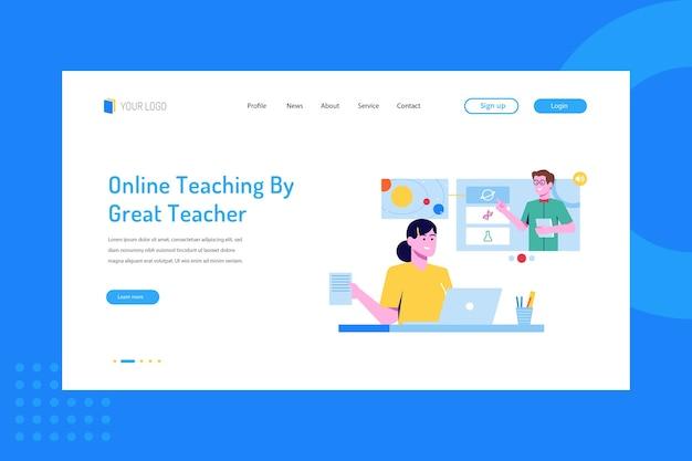 Nauczanie online przez świetnego nauczyciela na stronie docelowej