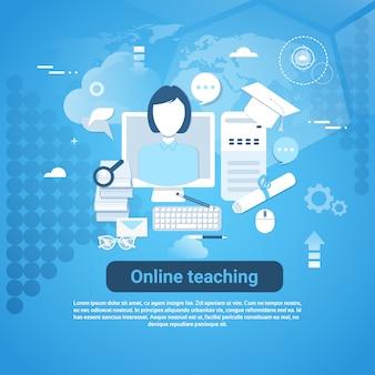 Nauczanie online web banner z miejsca kopiowania na niebieskim tle