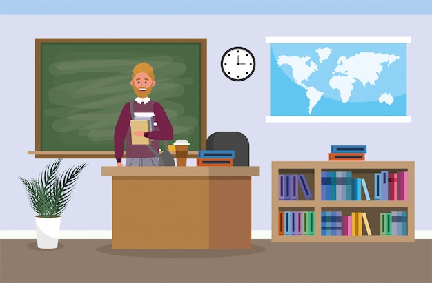 Nauczyciel akademicki z książkami edukacyjnymi w klasie