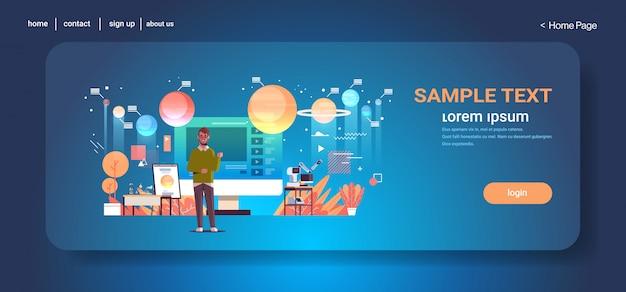 Nauczyciel blogger nagrywanie online wideo układ słoneczny eksploracja astronomia lekcja blogowanie koncepcja człowiek daje szkolenie edukacyjne pełnej długości kopii poziomej przestrzeni
