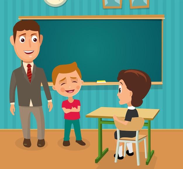 Nauczyciel chłopcy uczennica siedzi kolorowa płaska ilustracja wnętrze biurka w klasie i tablicy