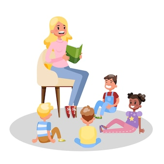 Nauczyciel czyta książkę dla grupy dzieci w wieku przedszkolnym