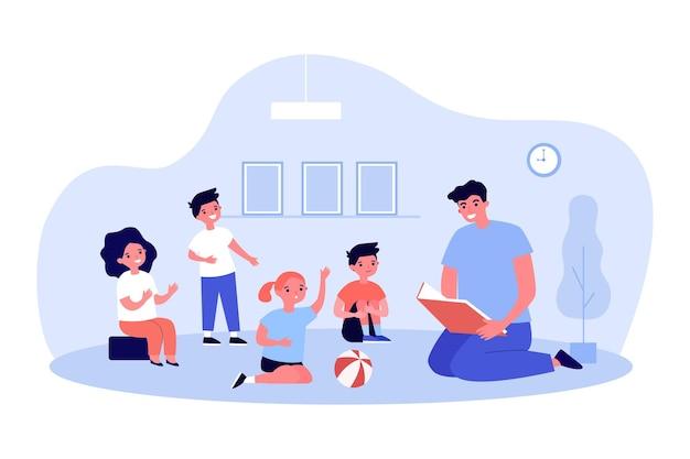 Nauczyciel czyta książkę do grupy dzieci. ilustracja wektorowa płaski. dzieci siedzą na podłodze i słuchają historii, zadając pytania mężczyźnie. przedszkole, szkoła podstawowa, czytanie, bajkowa koncepcja