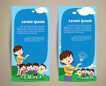 Nauczyciel edukacji dzieci chłopiec i dziewczynka na baner