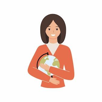 Nauczyciel geografii trzyma globus. szczęśliwy nauczyciel z uśmiechem i kulą ziemską. wektor znaków w stylu płaski.