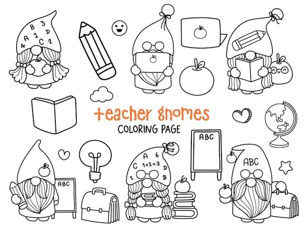 Nauczyciel gnomy doodle szkolny krasnal kolorowanki strona