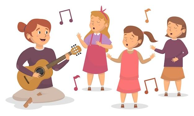 Nauczyciel gra na gitarze i śpiewa ilustracja koncepcja śliczni uczniowie