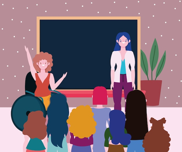 Nauczyciel i grupa zróżnicowanych uczniów w klasie, ilustracja integracji