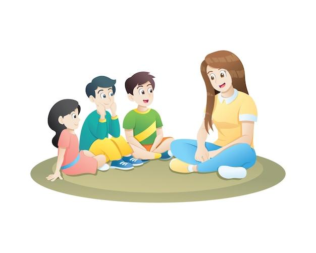 Nauczyciel i małe dzieci siedzą na miękkim dywanie i uczą się