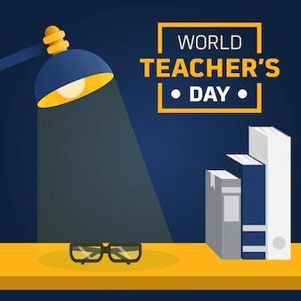Nauczyciel i stół biurko lekka ilustracja niestandardowa