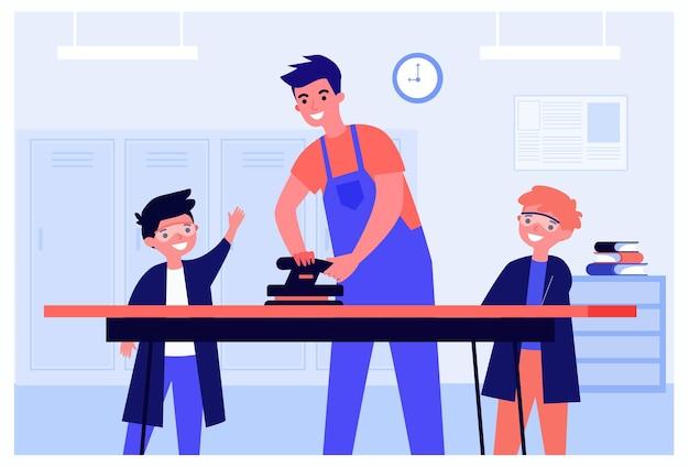 Nauczyciel i uczniowie korzystający z samolotu podczas zajęć plastycznych i rzemieślniczych w szkole. studenci zdobywają nowe umiejętności płaskie wektor ilustracja. edukacja, koncepcja wyposażenia banera, projekt strony internetowej lub strona docelowa