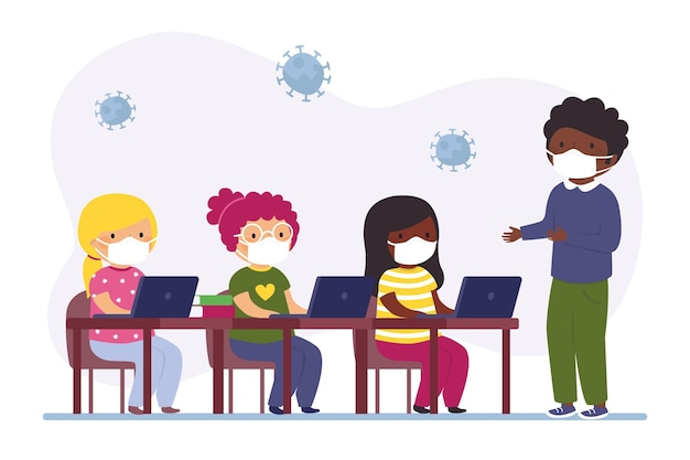 Nauczyciel i uczniowie noszący maskę w klasie