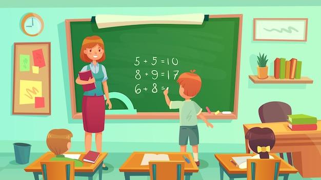 Nauczyciel i uczniowie siedzą przy biurkach