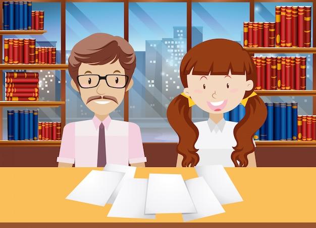 Nauczyciel i uczniowie w bibliotece