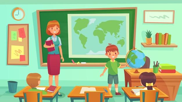 Nauczyciel i uczniowie w klasie geografii