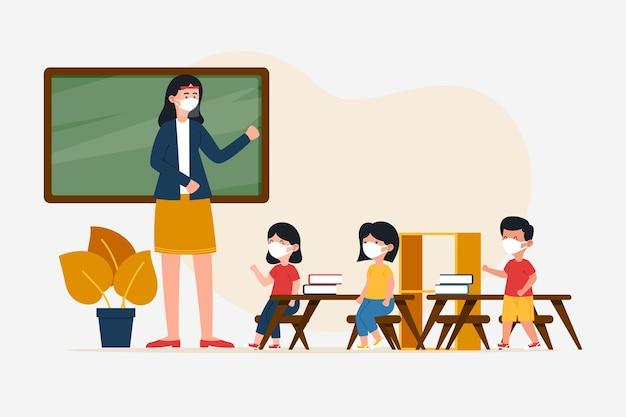 Nauczyciel i uczniowie w masce