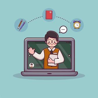 Nauczyciel koncepcji uczenia się online z książkami i lekcją wideo na tablicy edukacja online na laptopie