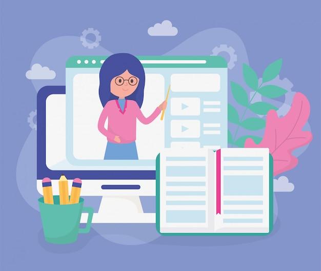 Nauczyciel laptop strona internetowa edukacja szkolna online