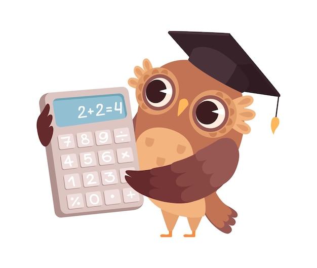 Nauczyciel matematyki. sowa z kalkulatorem, ptak profesor. postać z kreskówki na białym tle w szkole lub na uniwersytecie