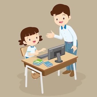 Nauczyciel nauczania komputera do dziewczyny studentów