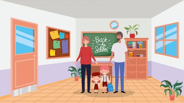 Nauczyciel para z małymi uczniami dzieci w klasie