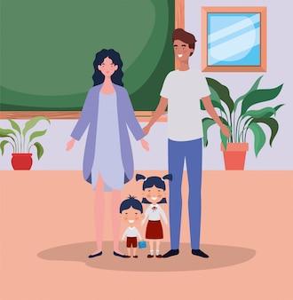 Nauczyciel Para Z Małymi Uczniami Dzieci W Klasie Darmowych Wektorów