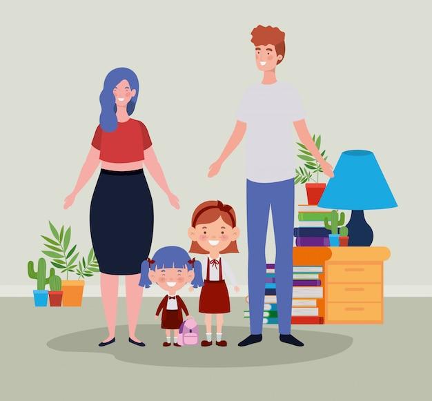 Nauczyciel para z małymi uczniami dzieci w pokoju