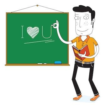 Nauczyciel pisze na tablicy