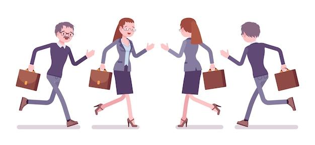 Nauczyciel płci męskiej i żeńskiej działa