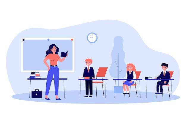 Nauczyciel pyta ucznia w klasie