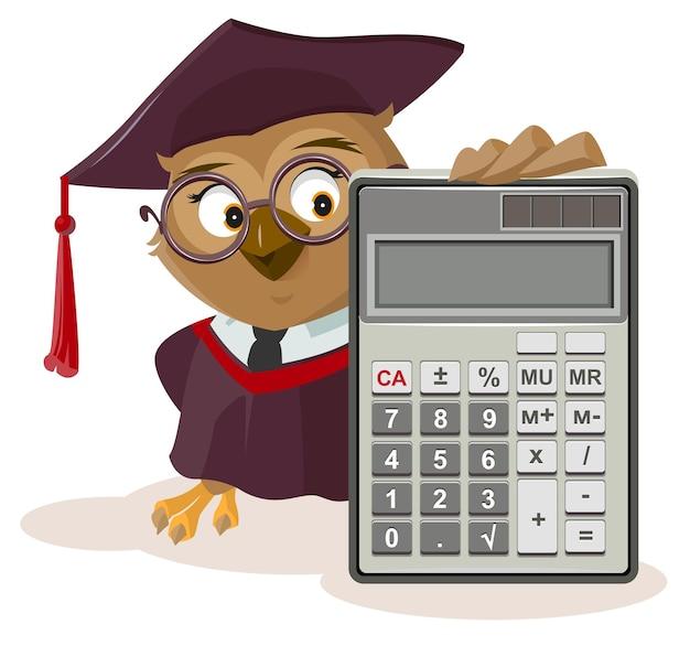 Nauczyciel sowy i kalkulator. na białym tle na ilustracji kreskówka wektor biały